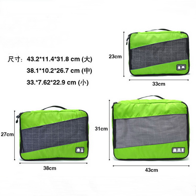 3 Pieces Packing Cubes Set Travel Luggage Organizer Breathable Mesh Storage Bag