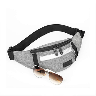 Unisex Adjustable Waist Pouch Bag With Reflective Strip