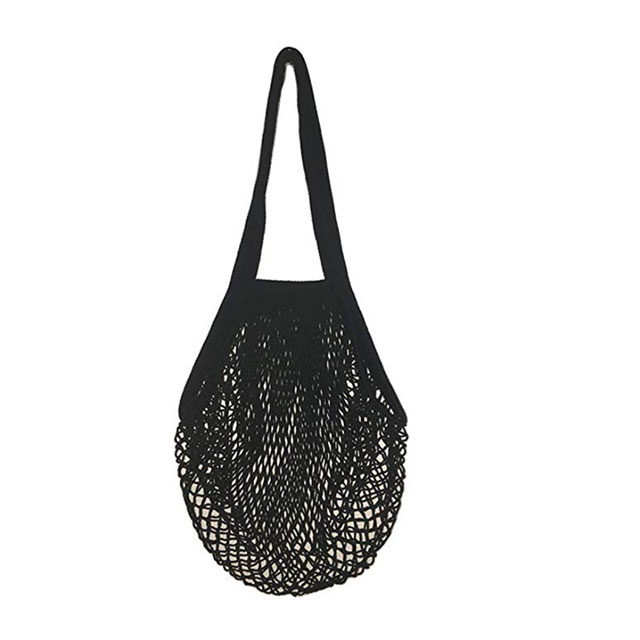 Reusable Portable Cotton Net String Bags For Shopping Storage With Long Handle