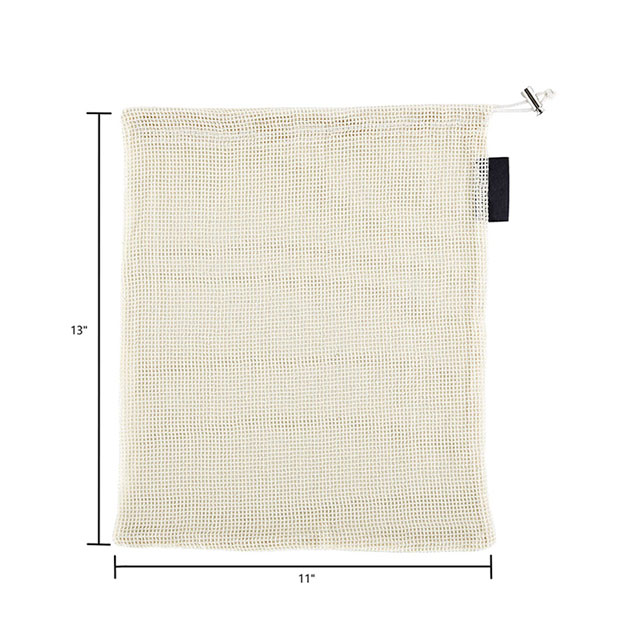 Eco Reusable Organic Cotton Mesh Bags With Drawstring For Packing And Shopping