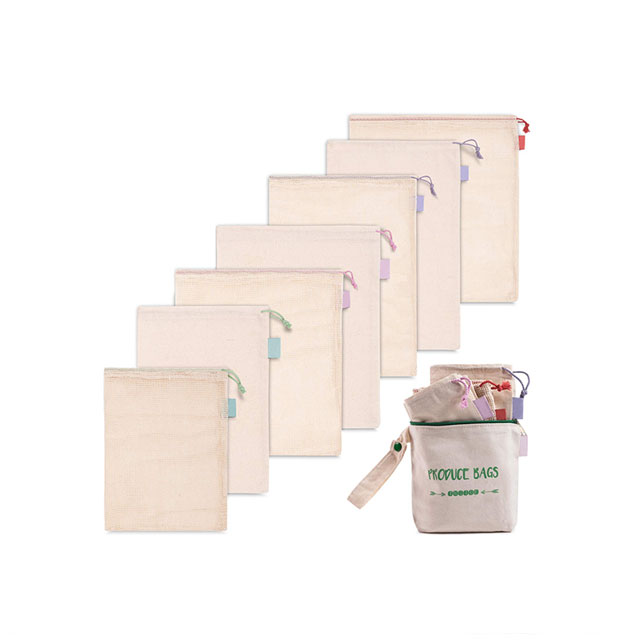 Best Cotton Mesh Produce Bags Set Of 7 Reusable Vegetable Bags