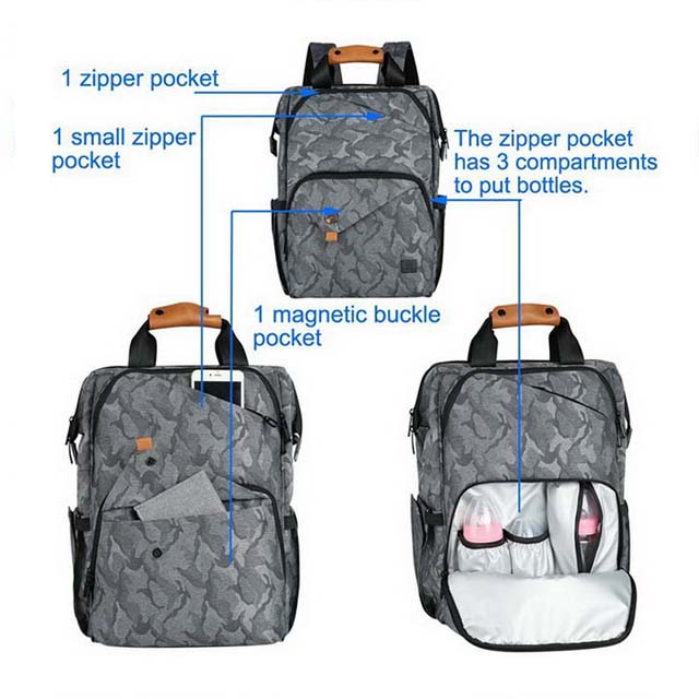 Classic Mummy Diaper Backpack Bag With Leather Handle|Best Backpack Changing Bag