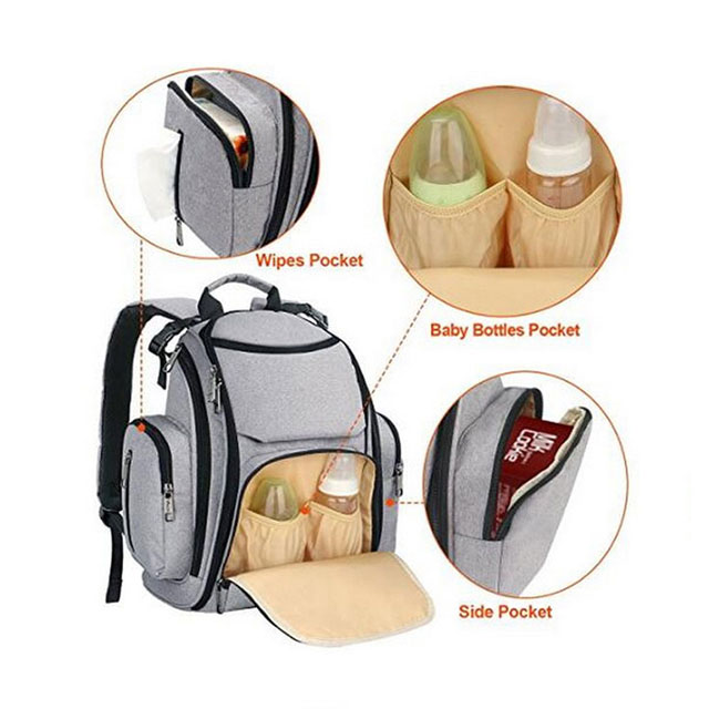 Waterproof Baby Insulated Nursing Bottle Bag - Nappy Bag Backpack