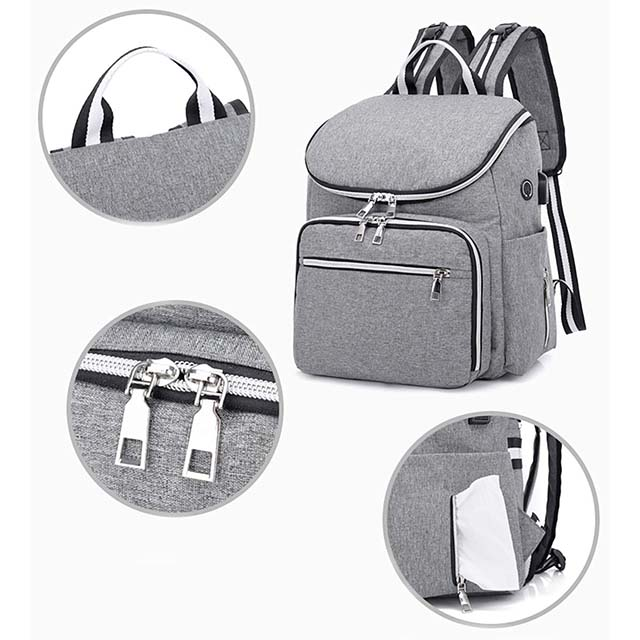 Waterproof Nappy Bag with Insulated Pockets & USB Charging Port